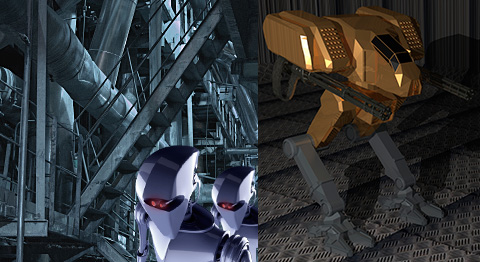 two images of dangerous looking robots in industrial warehouses